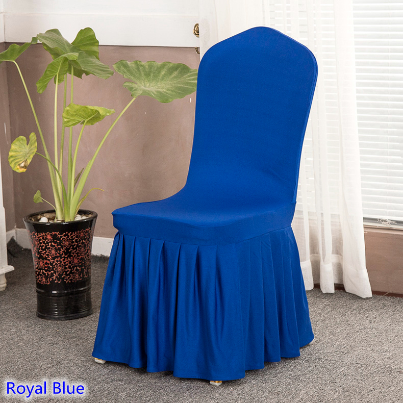Pleasant Us 3 0 Royal Blue Colour Skirted Chair Covers Spandex Lycra Universal Ruffled Chair Covers Wedding Decoration Ruched Thick In Chair Cover From Home Caraccident5 Cool Chair Designs And Ideas Caraccident5Info