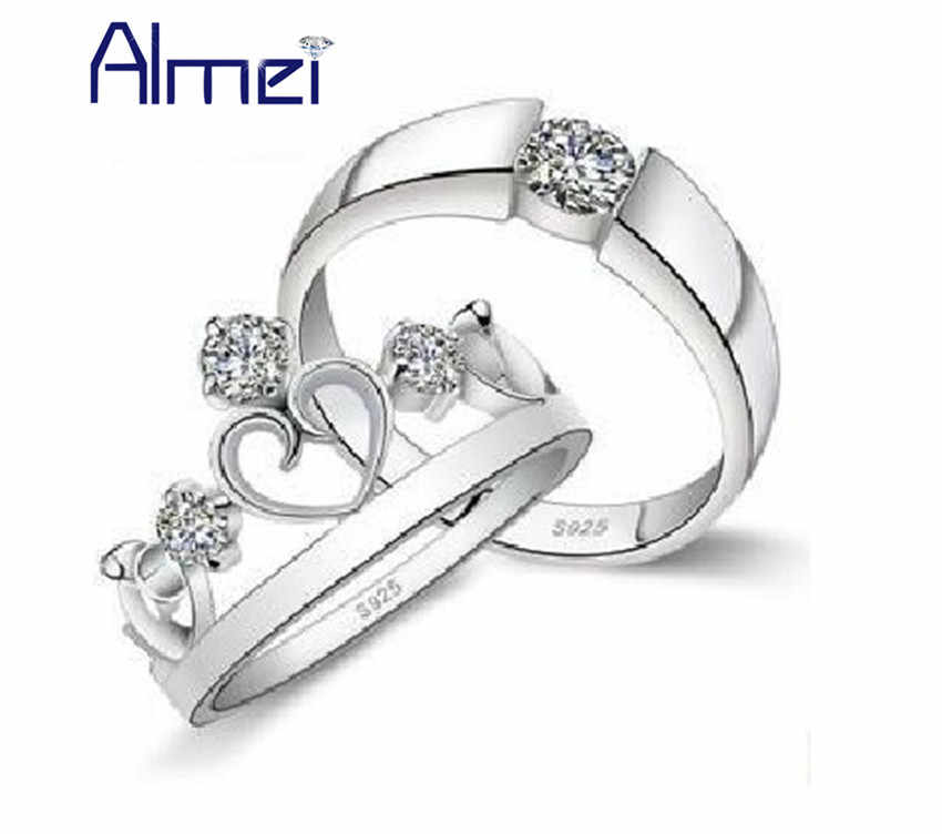 Almei montreal canadiens Pair Ring Silver Color Crown Couple Men/Women Anel Wedding Mens Jewelry Couples Rings,Cubic Zircon J413