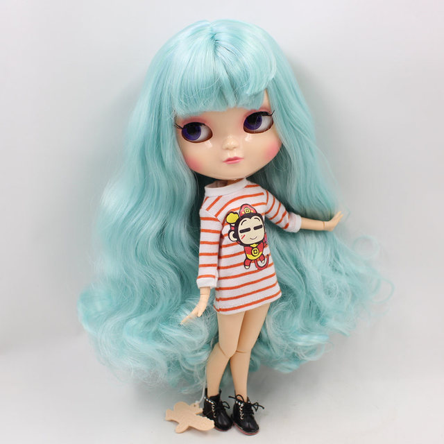 Joint Body small chest ICY nude doll bule hair with bangs 30cm Fortune Days No.280BL4006/6005  free shipping