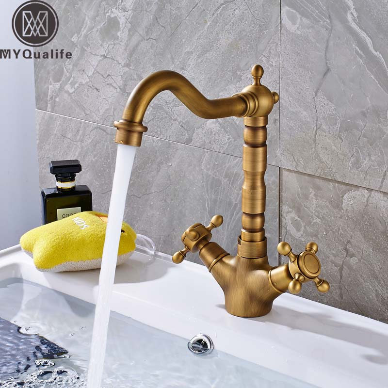 Dual Handle Swivel Bathroom Kitchen Sink Faucet Antique Brass Mixer Tap with Hot and Cold Water Deck MountedDual Handle Swivel Bathroom Kitchen Sink Faucet Antique Brass Mixer Tap with Hot and Cold Water Deck Mounted
