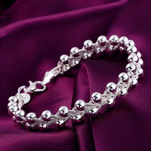 Women Cute 925 Sterling Silver Fashion Beads Party Chain Bracelet Jewelry Roman Style Woman Wristband Crystal Bracelet Gift