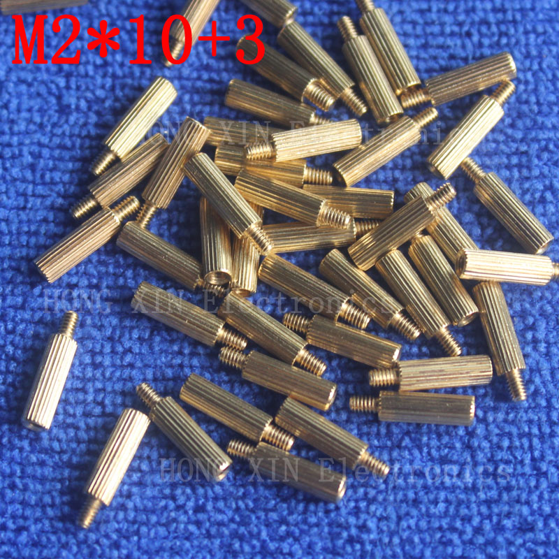 M2*10+3 1Pcs brass Standoff 10mm Spacer Standard Male-Female brass standoffs Metric Thread Column High Quality 1 piece sale m3x35mm 6mm male to female thread 0 5mm pitch brass hex standoff spacer 10pcs