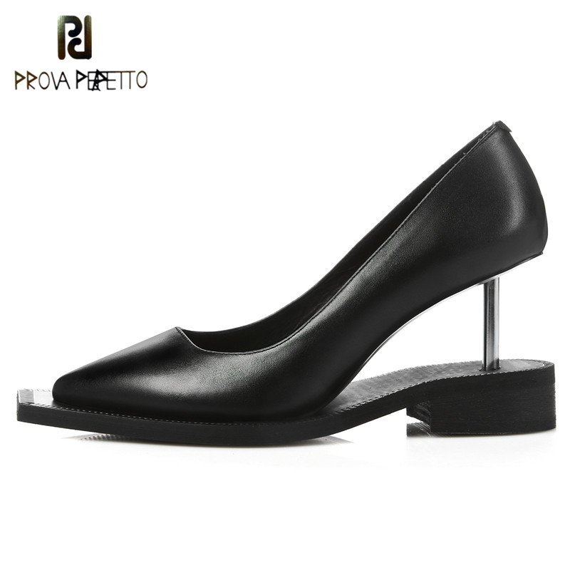 Prova Perfetto Originality Women Shoes Pointed Toe Pumps Stilettos Shoes Real Leather Dress Zapatos Mujer High Heels Boat Shoes