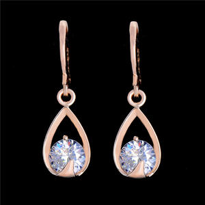 MISANANRYNE Fashion CZ Crystal Dangle Drop Earrings For Women Gold Color Brincos Waterdrop Zircon Earrings