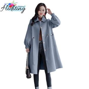 Women Woolen Coat Autumn Winter Medium Long Jacket 2018 New Large Size Slim Outerwear Thickening Goddess With Woolen Coat DT0453