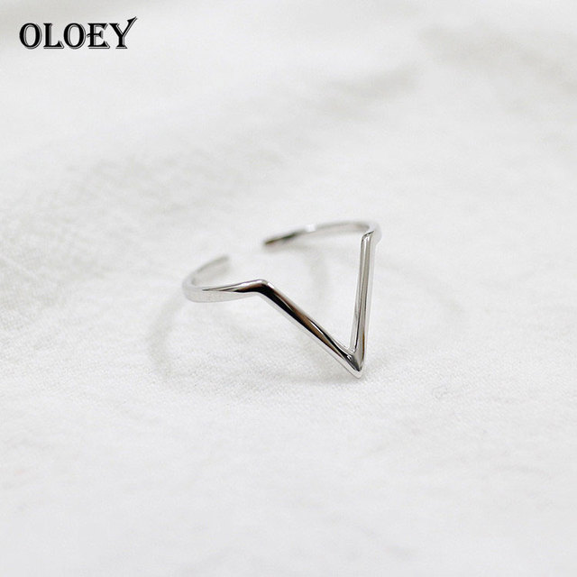 OLOEY 100% Real 925 Sterling Silver Rings V Shape Vintage Geometric Triangle Ope