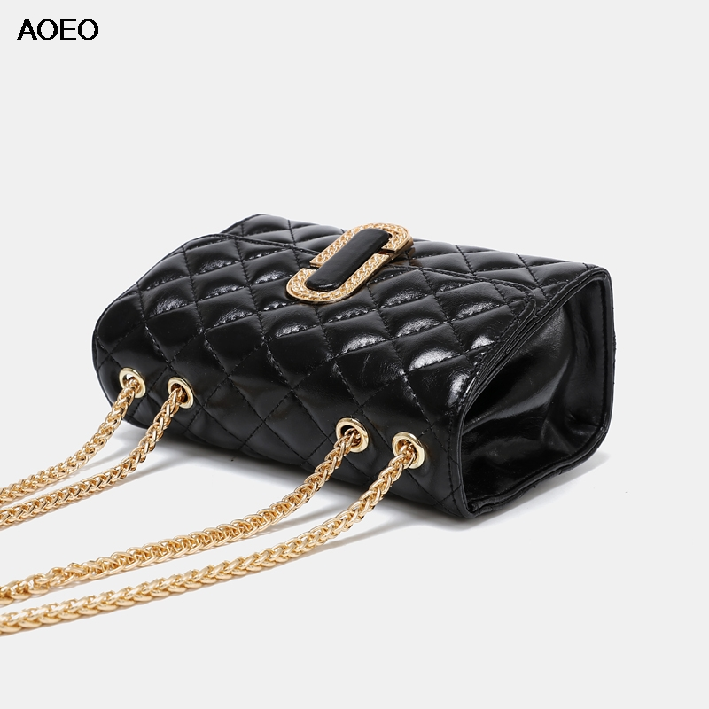 AOEO Womens Shoulder Bag Sling Golden Chains Purses And Handbags Girl Diamond Lattice Split Leather Luxury