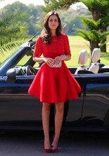 2016 heiße Kurze Rot Langarm Homecoming Kleider Lace Open Back Eine Linie Short Prom Cocktailkleider HC6