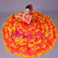 Fase da pétala da flor saia longa dress feminino traje cantor dancer boate bar fashion show desempenho roupas chinesas
