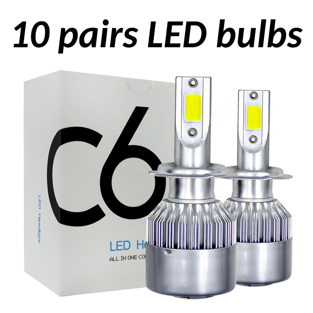 ASLENT 10pairs/lot Wholesale C6 H7 LED Car Headlight H1 H3 H4 H7 H11 H8 H27 9004 9005 9006 9007 9012 880 Auto Bulb Fog Light 12v