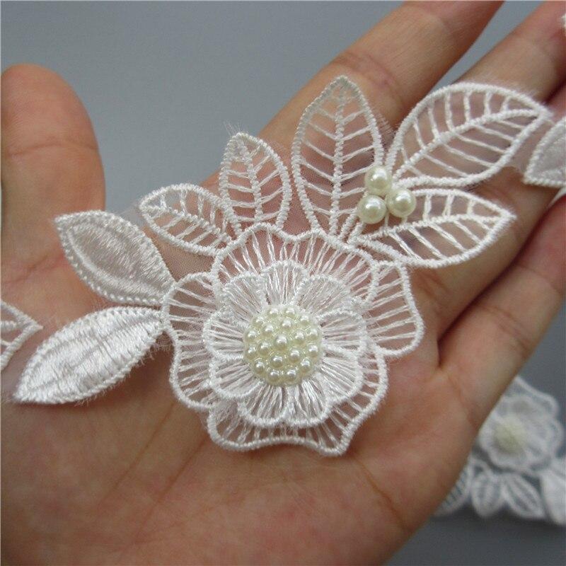 Горячая 10x Белый жемчуг бисером цветок лист вышитые кружевная Бейка ленты из ткани, шитье ручной работы Craft для костюм шляпа украшения