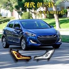 Qinyi 2 Adet ABS Gündüz Farları Hyundai ELANTRA 2014 2015 Için Beyaz DRL lambaları led araba ışıkları