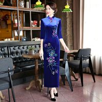 Fashion Summer Womens Long Cheongsam New Arrival Chinese Style Velour Dress Elegant Qipao Vestidos Size S