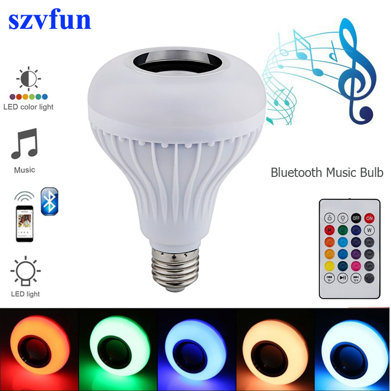 Szvfun Rgb Led Bulb E27 Lamp With Sound Lampada Bluetooth