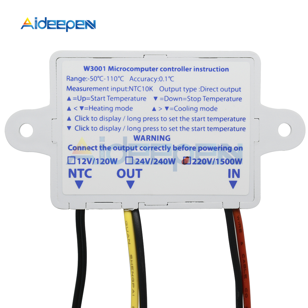 W3001 220V 12V 24V Digital Temperature Controller Thermoregulator Aquarium  Incubator Water Heater