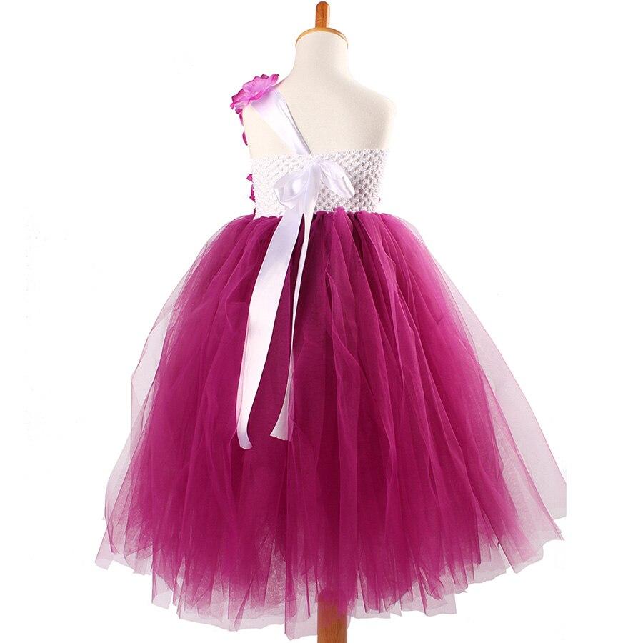 Girls Plum Flowers Wedding Tutu Dress with headband Children Summer Handmade Tulle Costume (3)