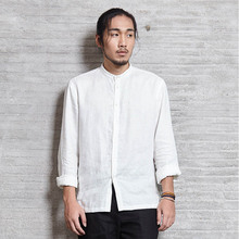 Mens Casual Shirt Basic Top Long Sleeve White 100% Linen Chinese Japanese Traditional Style Zen Nakali