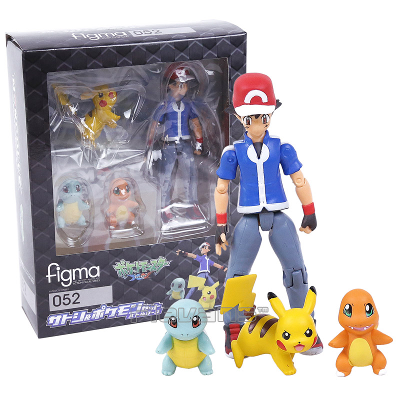 Figma 052 Ash Ketchum and Pikachu Charmander Squirtle PVC Action Figure Collectible Model Toy marcrown marcrown 052