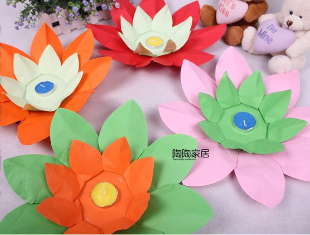 Paper Flower Lotus Lamps Paper Flower Lotus Lantern Water Floating