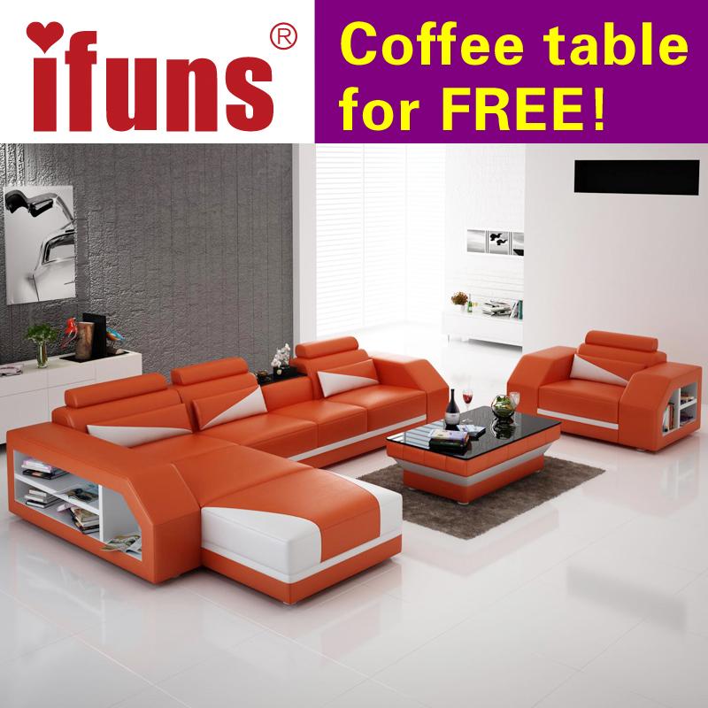 Ifuns Amerikanischen Modernes Design Echtes Leder L Geformte Ecksofa/liege  Braun Farbe Sofagarnitur Set Wohnzimmer Möbel