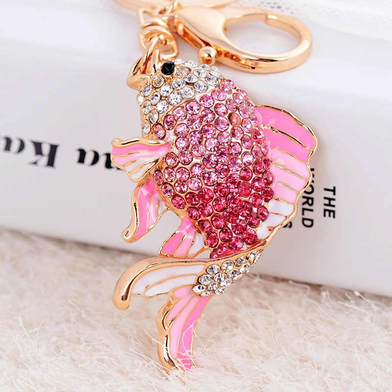 Lovely Pink Goldfish Cute Crystal Charm Purse Handbag Car
