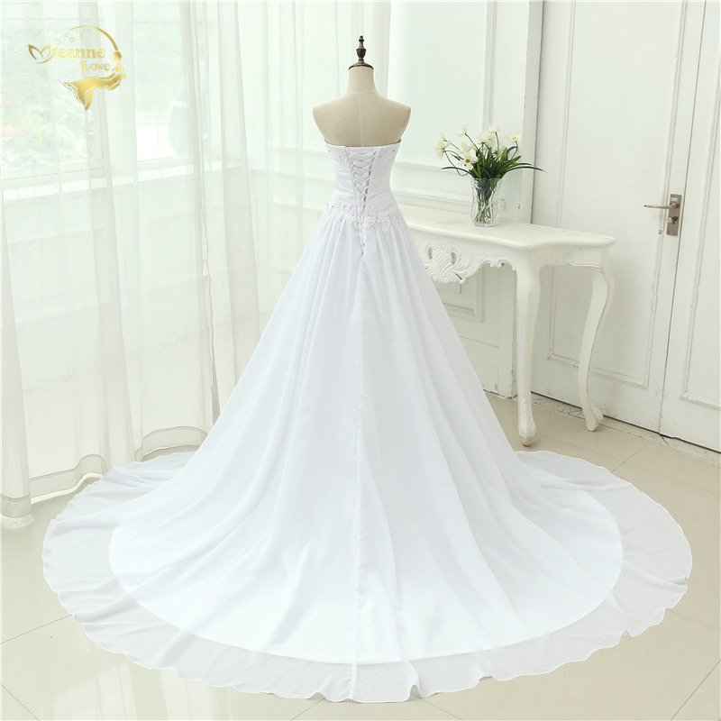 A-line Sweetheart Applique Belt Wedding Dress