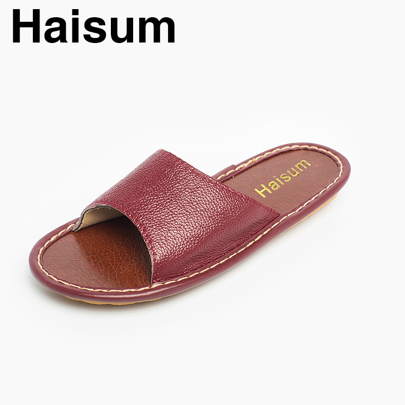 Ladies Slippers Spring And Summer genuine Leather Home Indoor Slip Non-slip Slippers 2018 New Hot Haisum H-8802 men s slippers winter pu leather home indoor non slip thermal slippers 2018 new hot haisum h 8007