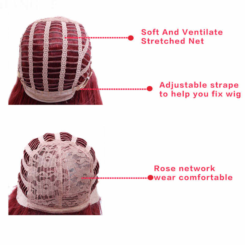 DIFEI peluca roja ondulada pelucas sintéticas para mujeres negras parte lateral resistente al calor peluca roja Cosplay