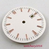 34.8mm bianco sterile quadrante rosa d'oro marks fit 2836 Mingzhu ETA 2813 movimento quadrante Dell'orologio degli uomini