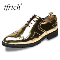 Ifrich Hot Sale Dress Shoes Men Lace Up Brogue Footwear Black Gold Leather Dress Rubber Bottom