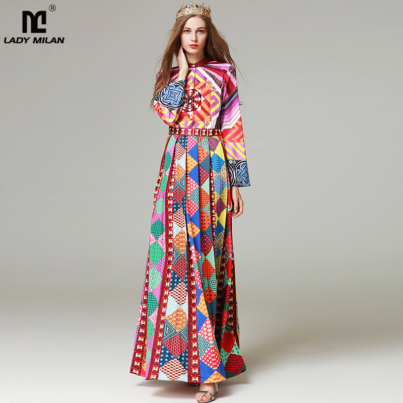 New Arrival 2018 Womens Stand Collar Long Sleeves Printed Pleated Elegant Maxi Runway Dresses in Plus Sizes