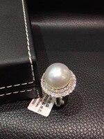 Pt900 platinum 14 15 мм Природный южного жемчужное кольцо белого цвета кольцо с большой жемчужиной со стразами вокруг шеи отличное женское ожерелье