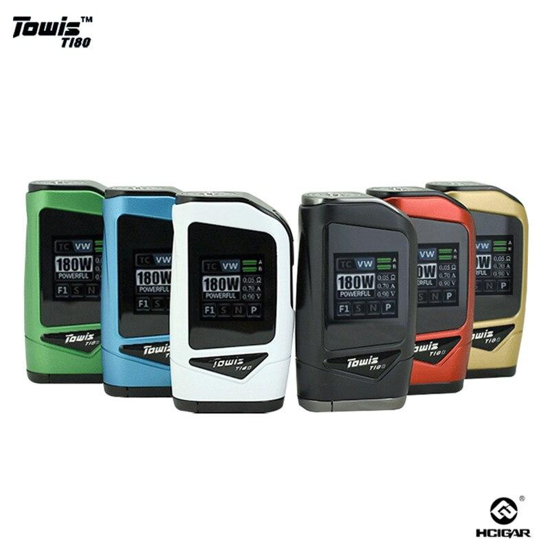 D'origine Hcigar Towis T180 Mod 18650 Écran Tactile Mod Boîte Sortie 5-180 w TFT Couleur Écran E-cigarette Mod ajustement RDA 510 Vaporisateur
