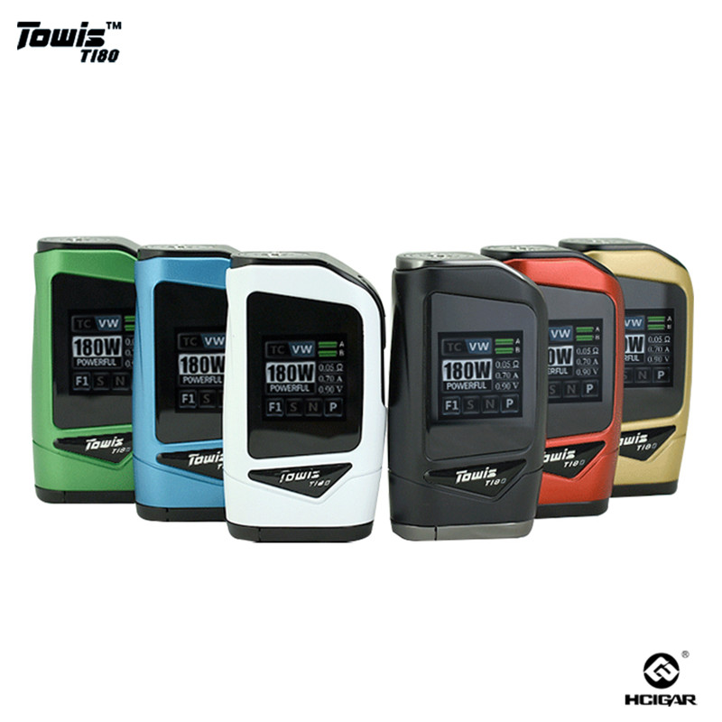 Original hcigare Towis T180 Mod 18650 écran tactile Mod boîte sortie 5-180 W TFT couleur écran E-cigarette Mod Fit RDA 510 Vape