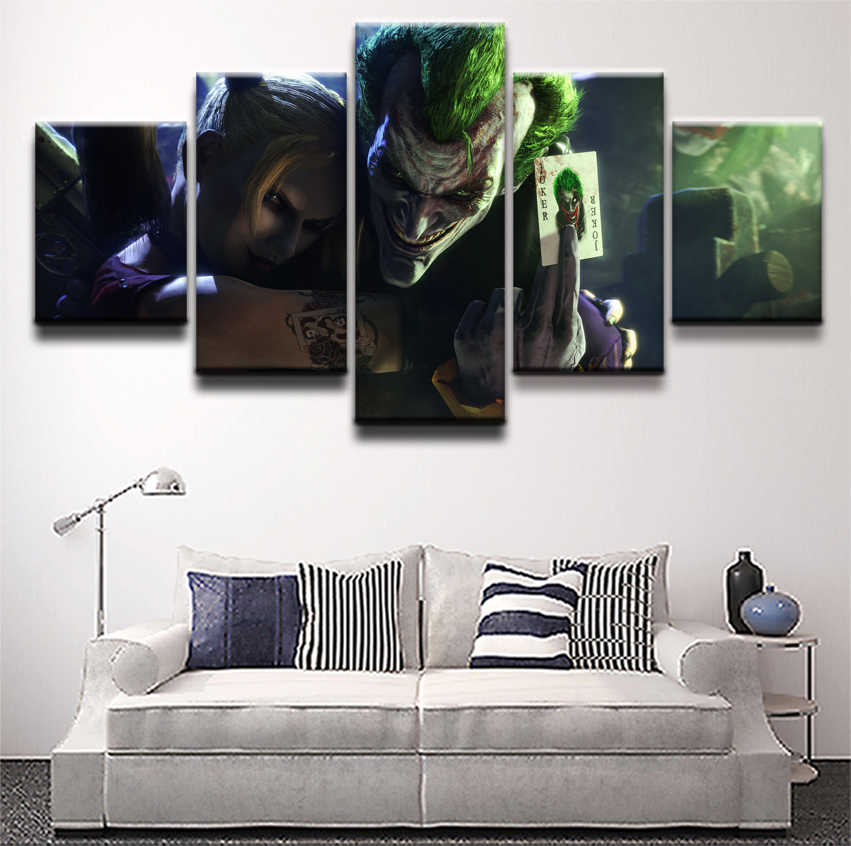 One Set 5 Panels Comics Harley Quinn Joker Wall Art Painting Pictures Canvas Print Poster Home Decor Living Room Modern Artwork