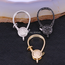 5PCS ZYZ180 9250 Large Lobster Clasp For Jewelry Making, Gun Black, Gold, Silver Color Metal Clasp, Pave CZ Clasps In 23 * 39 mm