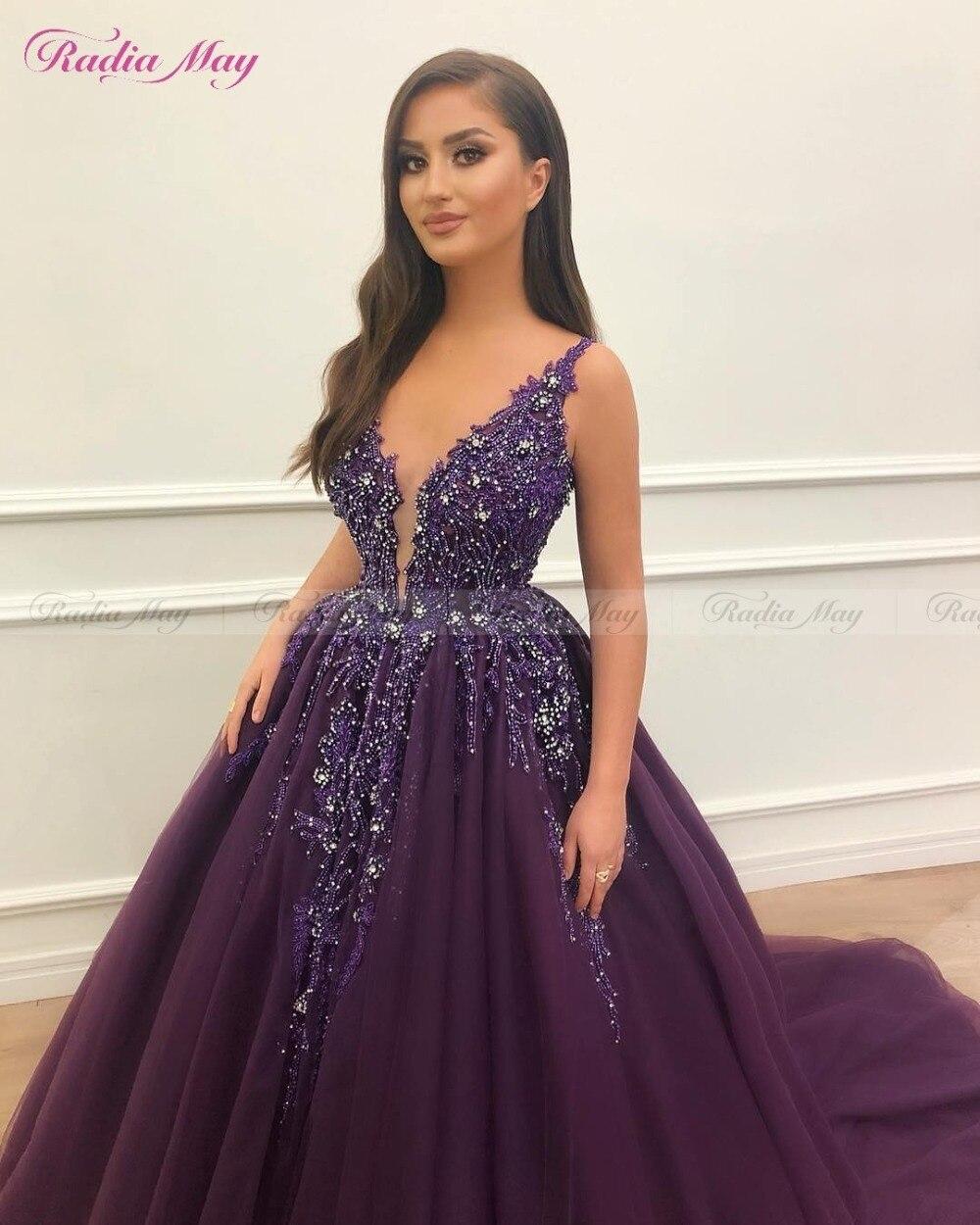2019 Arabic Purple Tulle Ball Gowns Evening Dresses Beaded V Neck Robe de Soriee Dubai Women