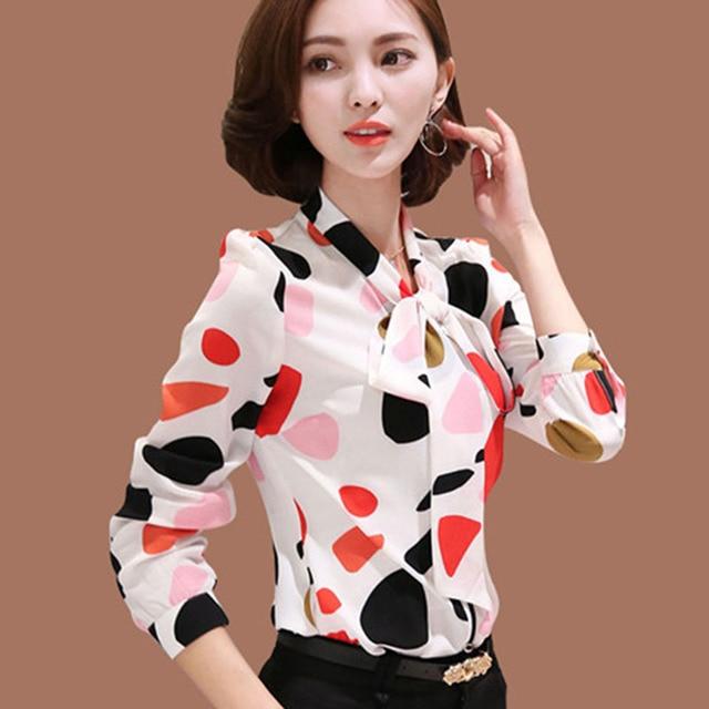 New arrival fashion  Chiffon Shirt Long Sleeve  polka dot women blouses casual bow lady shirt large size DD2357 1