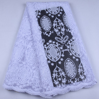 White African Lace Fabric High Quality French Net Sequins Lace Fabric Nigerian Stone Fabric For Wedding Party Dress A1636