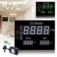 ЖК дисплей цифровой настенный качество воздуха в помещении Температура влажность RH 9999PPM углекислого газа CO2 монитор метр Сенсор контроллер