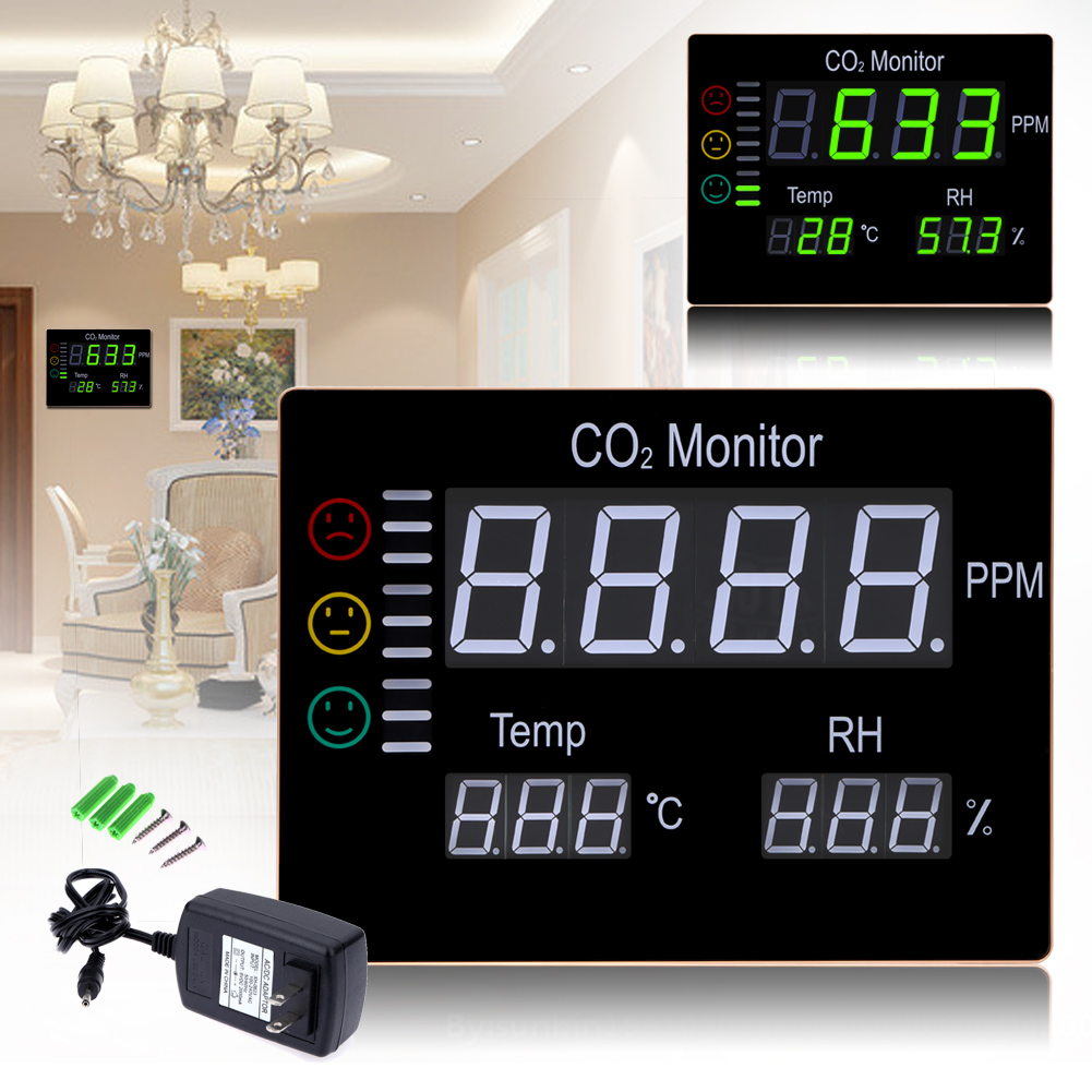 LCD Digital Wall Mount Indoor Air Quality Temperature Humidity RH 9999PPM Carbon Dioxide CO2 Monitor Meter Sensor Controller