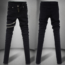 Europe Young Men's black zipper slim skinny jeans casual fashion personality denim pencil pants Cotton Material straight jeans