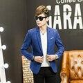 2016 Nova Coreano Moda Mens Slim fit Blazer casaco paletó casual masculino único blaser masculino M para 3XL xadrez vermelho azul verde