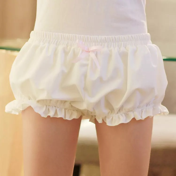 Lolita Girls Cotton Bloomers Pumpkin Pants Safety Shorts Women Cute Cartoon Ruched Stretchy Short Panties Bottoms For Ladies
