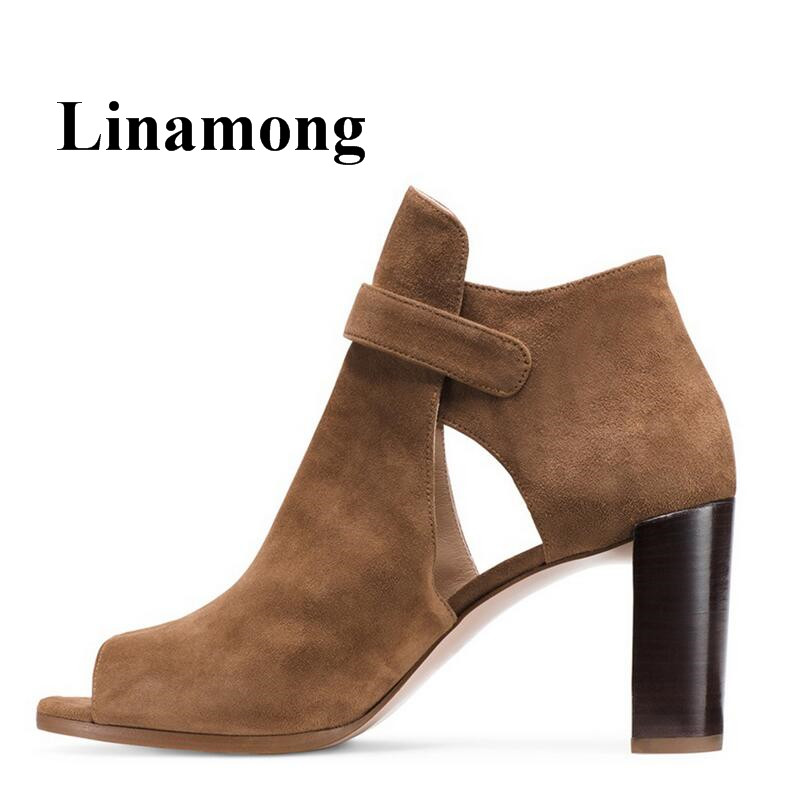 Fashion Flock Solid Chunky Heel Peep Toe Buckle Strap Spring And Autumn Europe Style Women Ankle Boots High Quality Normal Size стоимость