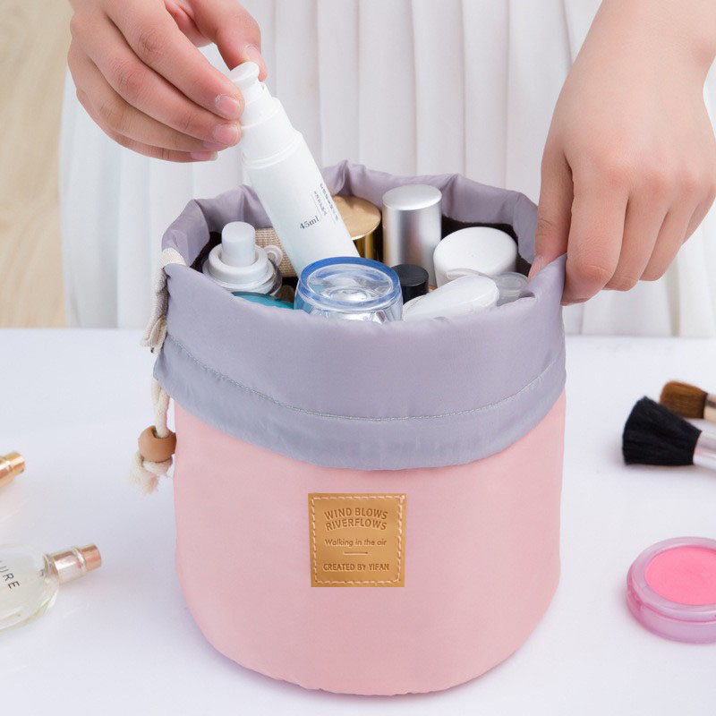 High Quality Waterproof Barrel Travel Cosmetic Bag Cosmetic Bag Nylon Wash Bag Dressing Box Storage Bag Large Capacity