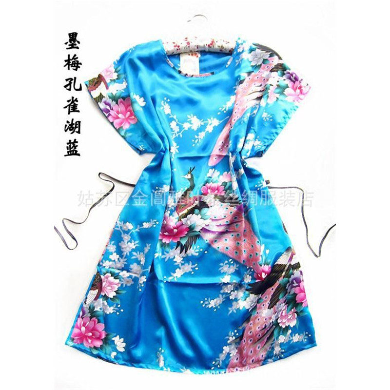 Hot Sale Lake blue Peacock robe pajamas Chinese Womens Silk Rayon Robe Bath Gown One Size Flower Free Shipping