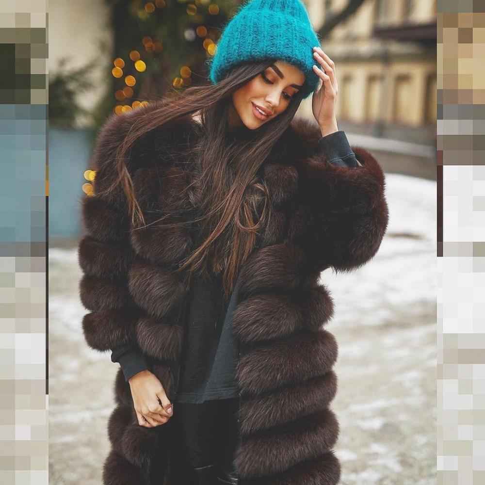 BFFUR Réel Renard Manteau De Fourrure est 90 cm Épais Chaud Véritable Fourrure Mince Plafonné Femme Vêtements D'hiver 2018 Mode Casual o-cou Plus La Taille
