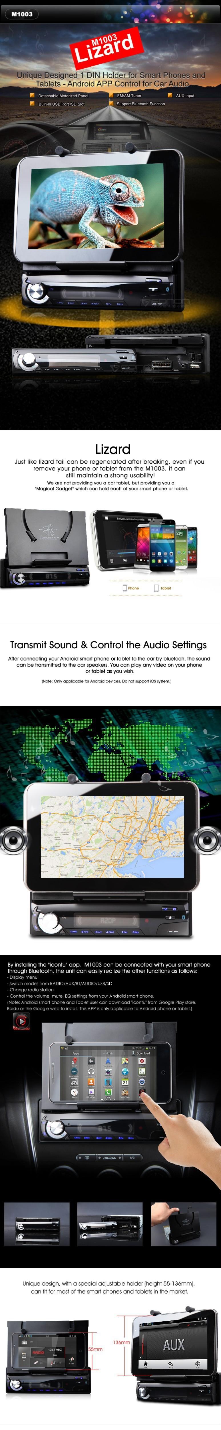 Un Din autoradio 1 Din autoradio simple Din voiture stéréo lecteur support pour les téléphones intelligents et tablettes avec façade détachable