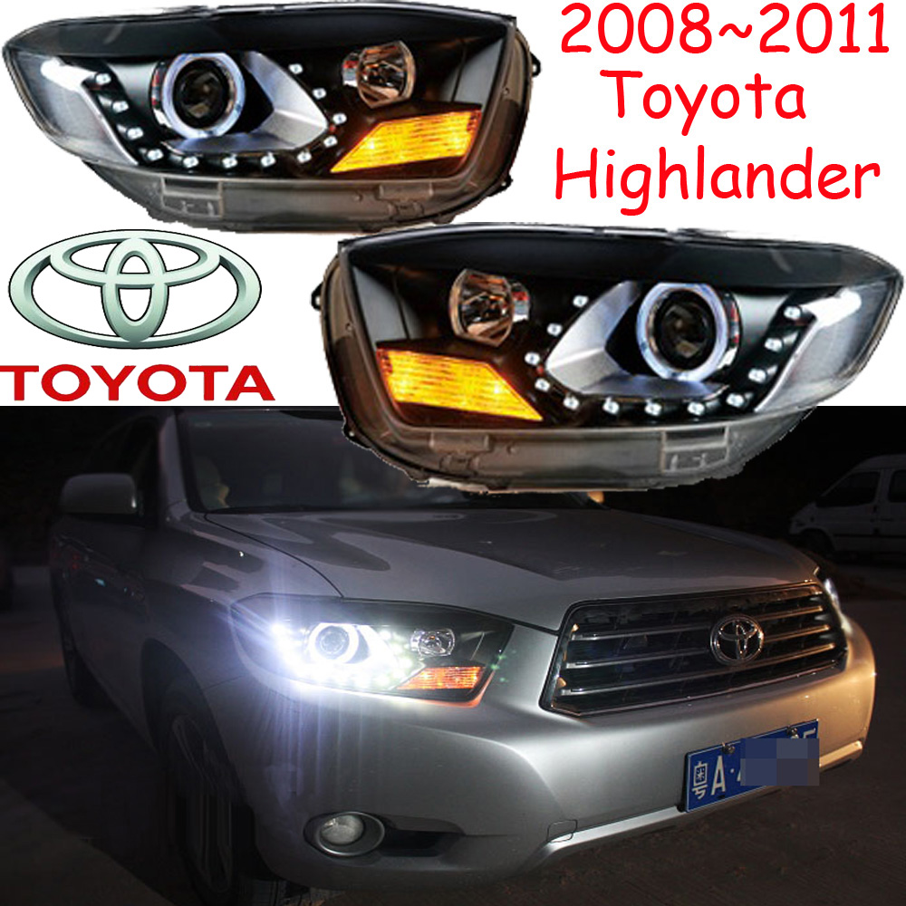 car-styling,highlander headlight,2008~2011,Free ship!2pcs,highlander fog light;car-covers,chrome,highlander head light 2008 2013year car styling murano headlight free ship chrome murano fog lamp tsuru stagea micra sylphy murano head lamp